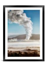 Baglan Bay Power station letting off a bit of stea, Framed Mounted Print