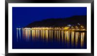Evening at Mumbles village with oil effect, Framed Mounted Print