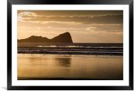 Rhossili beach and Worms Head, Framed Mounted Print