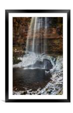 Henrhyd Falls in Winter, Framed Mounted Print
