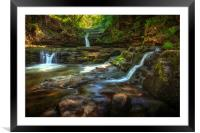 Sgwd Isaf Clun-gwyn waterfalls, Framed Mounted Print