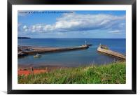 Whitby Harbour and its 2 piers, Framed Mounted Print