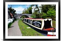 Canal boat at Christleton, Framed Mounted Print