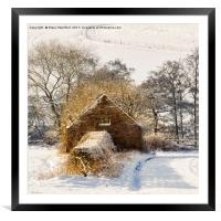 Barn and snow, Framed Mounted Print