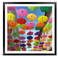 Roof of umbrellas, Framed Mounted Print