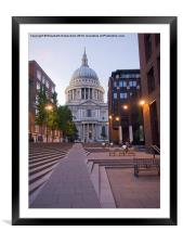 St Pauls Cathedral from Millenium Bridge, Framed Mounted Print