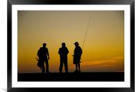 Three fishermen at sunset, Framed Mounted Print