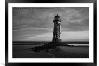 Talacre Lighthouse Black And White, Framed Mounted Print