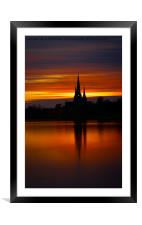 Fiery Sunset Reflection At The The Lichfield Cathe, Framed Mounted Print