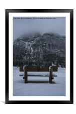 Lone Bench At Lago del Predil Italy, Framed Mounted Print