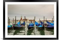 Gondola in front of The Church of San Giorgio Magg, Framed Mounted Print
