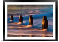 Groynes At Sunrise, Framed Mounted Print