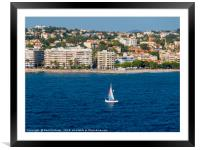 Yacht on the water at St Raphael, Framed Mounted Print