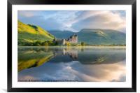 Dawn at Kilchurn castle, Loch Awe, Scotland, UK, Framed Mounted Print