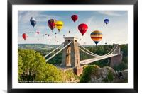 Bristol Balloon Fiesta display over Clifton Bridge, Framed Mounted Print