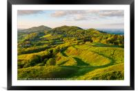 The Malvern hills at the evening golden hour, Framed Mounted Print