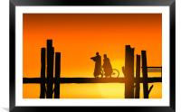 U Bein bridge and people at sunset, Framed Mounted Print