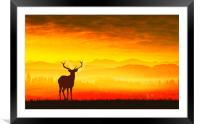 Silhouette of a deer, Framed Mounted Print