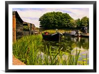 Canal dock., Framed Mounted Print