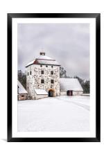 Hovdala Castle Courtyard in Winter, Framed Mounted Print