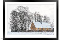 Yellow house in Winter, Framed Mounted Print