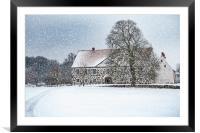 Hovdala Castle Main house in Winter, Framed Mounted Print