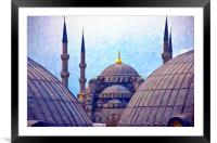 Blue Mosque From Hagia Sophia Digital Painting, Framed Mounted Print