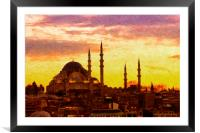 Suleiman Mosque Digital Painting, Framed Mounted Print