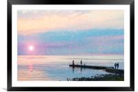 Sunset Gathering at Torekov Digital Painting, Framed Mounted Print
