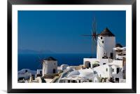 Windmills Of Oia, Framed Mounted Print