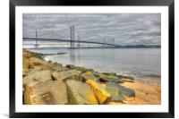 The Forth Road Bridge, South Queensferry, Scotland, Framed Mounted Print