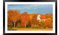 Village Church in Autumn, Framed Mounted Print
