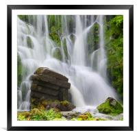 Artificial Waterfall in the mountain park Wilhelms, Framed Mounted Print
