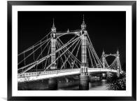 Albert Bridge in Black and White, Framed Mounted Print