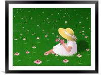 Girl In Grass, Framed Mounted Print