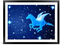 Pegasus Flying In the Night, Framed Mounted Print