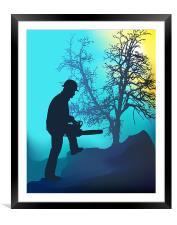 Landscape Worker, Framed Mounted Print