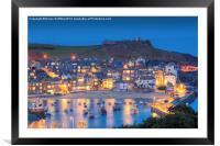 St Ives Harbour at dusk, Framed Mounted Print