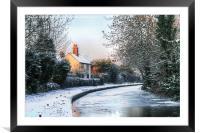 Snowy Penkridge Canal, Framed Mounted Print
