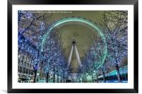 The London Eye at Night, Framed Mounted Print