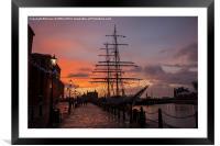 Liverpool Sunset Ship, Framed Mounted Print