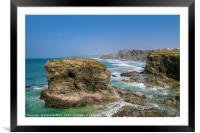 North Cornwall Coastline from Trevelgue Head, Framed Mounted Print