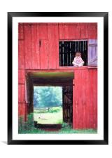 Girl in the Red Barn, Framed Mounted Print