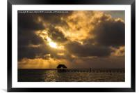 Rays of sun above a jetty, Framed Mounted Print
