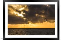 Kite surfing in Cuba, Framed Mounted Print