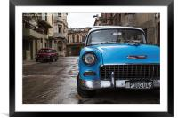Face on with a blue old timer, Framed Mounted Print