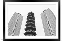 Chinese pagoda between two old blocks of flats, Framed Mounted Print