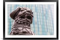 Lion statue against a modern background, Framed Mounted Print