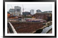 New buildings being erected around the old canal i, Framed Mounted Print