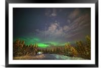 The Aurora Glows in the distance , Framed Mounted Print